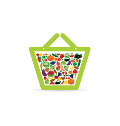 fruit and vegetable like shopping basket color vector image