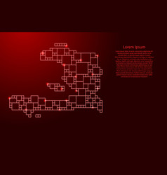 Haiti map from red pattern from a grid squares vector