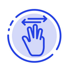 hand hand cursor up left right blue dotted line vector image
