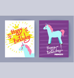happy birthday princess cute celebration banner vector image