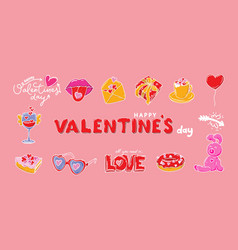 Happy valentine s day dooddle art collection of vector