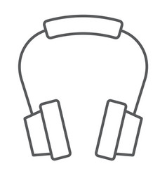 Headphones thin line icon earphone and music vector