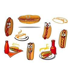 Hotdog cartoon characters and symbols vector