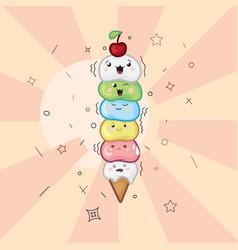 Ice cream waffle cone kawaii funny face on a light vector