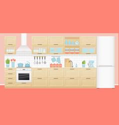kitchen interior in flat design vector image