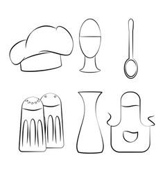 Kitchen utensils set icon design vector