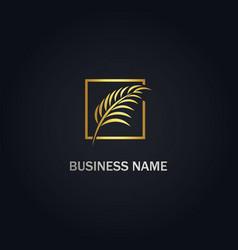 Leaf tropical palm tree logo vector