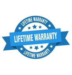 lifetime warranty ribbon lifetime warranty round vector image