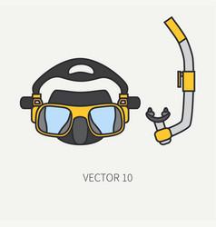 line flat color diver underwater equipment vector image