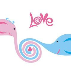 Love elephants cute cartoon vector image