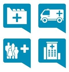 medical blue icon set vector image