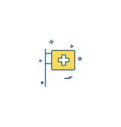 medical hospital flagpole icon desige vector image