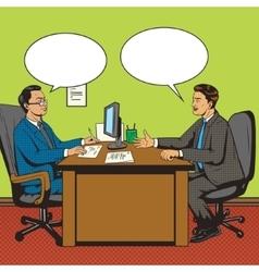 Men in office talk pop art retro style vector image