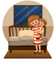 Mother and son in bedroom vector
