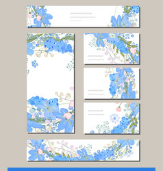 Muscari set with visitcards and greeting templates vector