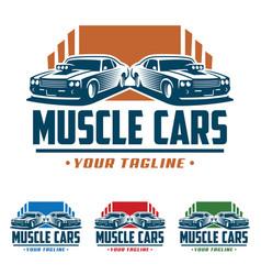 Muscle car logo retro logo style vintage logo vector
