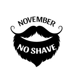 November beard and mustache as symbol prostate vector