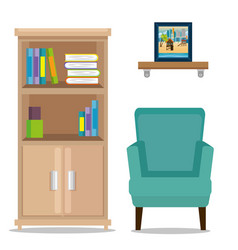 office place scene with library vector image