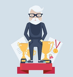 Old man winner in sport vector image