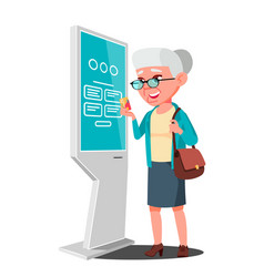 old woman using atm digital terminal vector image