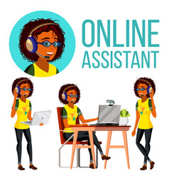 Online assistant african woman headphone vector