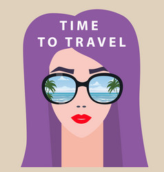 Portrait fashion woman with sunglasses time to vector