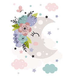 poster with beautiful moon and flowers vector image