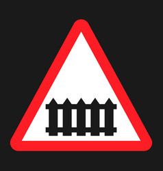 railroad crossing with barrier sign flat icon vector image