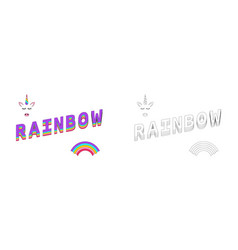 rainbow coloring rainbow color with unicorn and vector image
