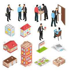 Real estate agency isometric set vector