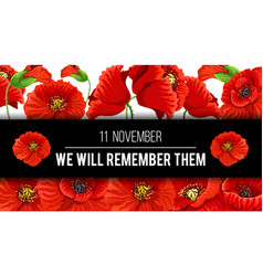 Remembrance day 11 november poppy banner vector