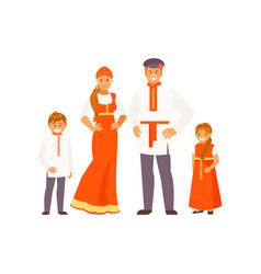 russian family in traditional clothes vector image