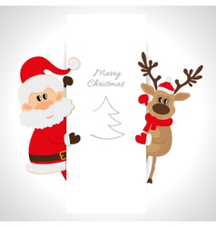 Santa Claus and reindeer with space for text vector