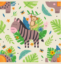 seamless pattern with funny jungle animals vector image