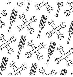 seamless pattern wrench and screwdriver tool vector image
