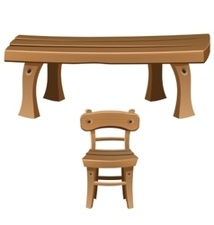 Set of wooden furniture Chair and table vector