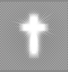 Shining white cross and sunlight special lens vector