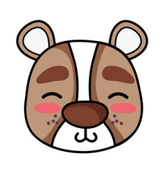 Shy bear head wild animal vector