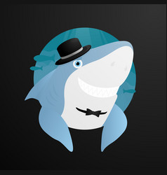 Sinister shark in the hat smile vector