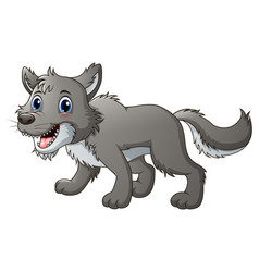Smiling wolf cartoon vector