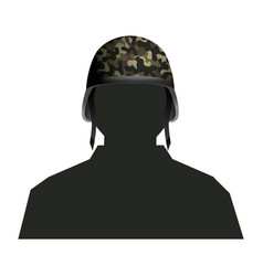 Soldier silhouette and helmet vector