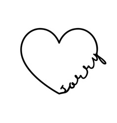 Sorry - calligraphy word with hand drawn heart vector