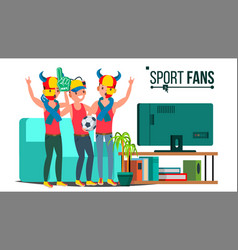 sport fans group tv-set sport match vector image