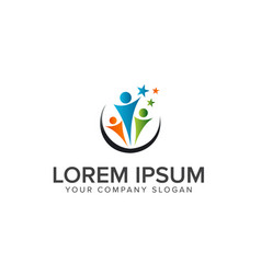 Teamwork partnership people logo education logo vector