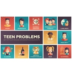 Teen problems- flat design icons set vector