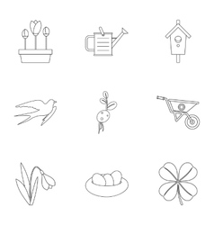Tending garden icons set outline style vector image