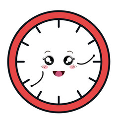 Time clock comic character isolated icon vector