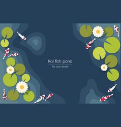 Top view koi fish pond vector