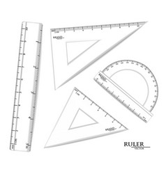 transparent rulers set realistic drawing vector image