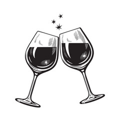 Two sparkling glasses wine or champagne vector